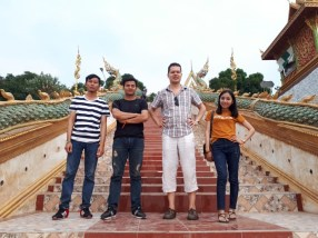 At Landmark of the Mekong river blank, with team members Mr. Daosavanh and Mr Daungvilavanh