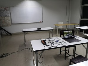 Our complete setup: Speaker, projector, and Laptop...