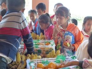 The children enjoy the variety of snacks.