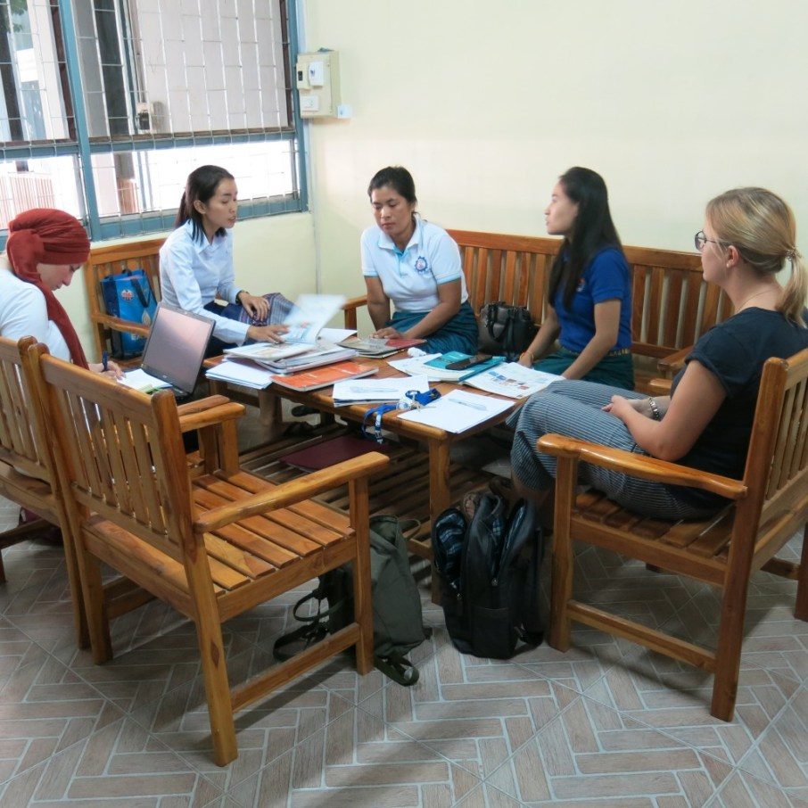 Dilara, Ms Akina, Ms Viengkhom, Ms Moukdala and I hold our first English teachers meeting.