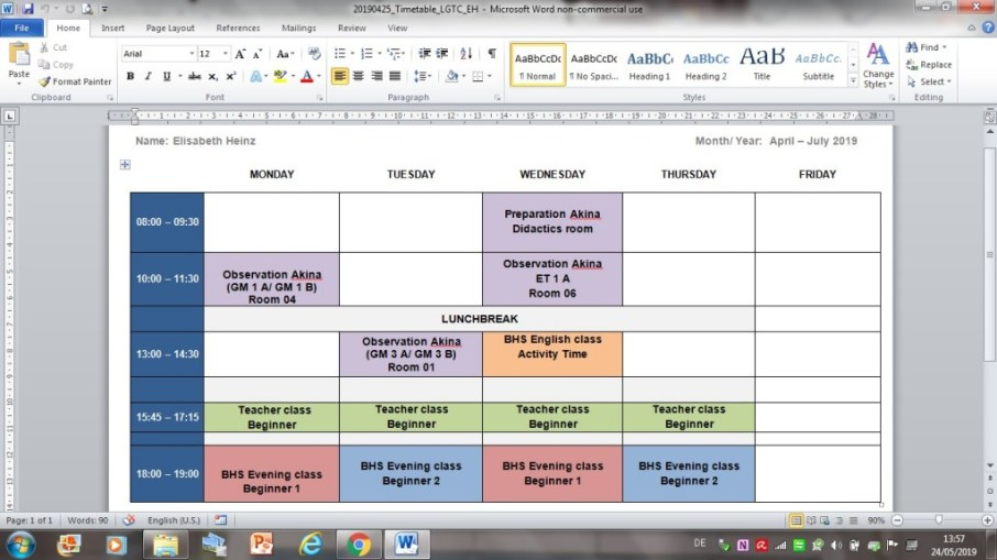 Elisabeth's timetable at the LGTC