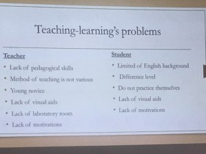 The problems as perceived by the lecturers at this time
