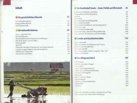 """Table of contents with various topics - excerpt from """"KulturSchock Laos"""", © 2005 Reise Know-How Verlag Peter Rump GmbH"""