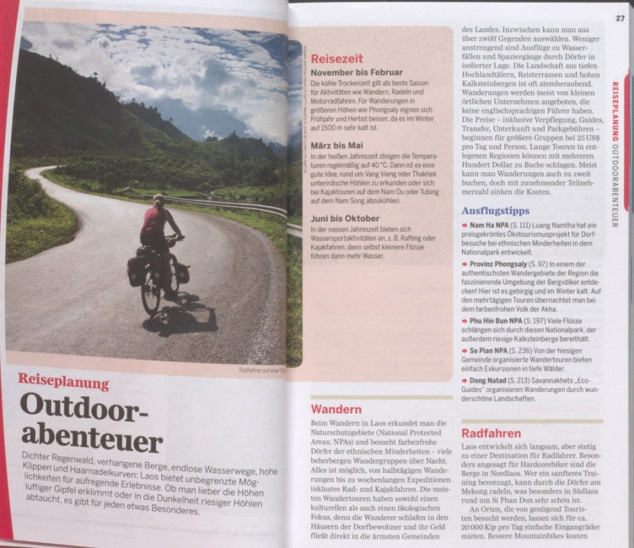"""Section talking about """"outdoor adventures"""" - excerpt from """"Lonely Planet Laos"""", © 2007 MAIRDUMONT GmbH & Co. KG"""