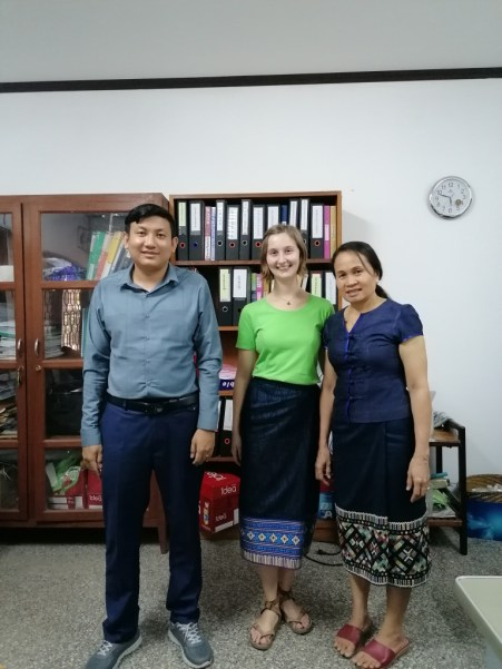 In the office with Mr Khampoun and my tandem-teacher Ms Vankham...