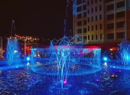An illuminated fountain that we passed