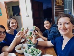 Lena, Celine, Ms Viengkhone, and I have dinner together.