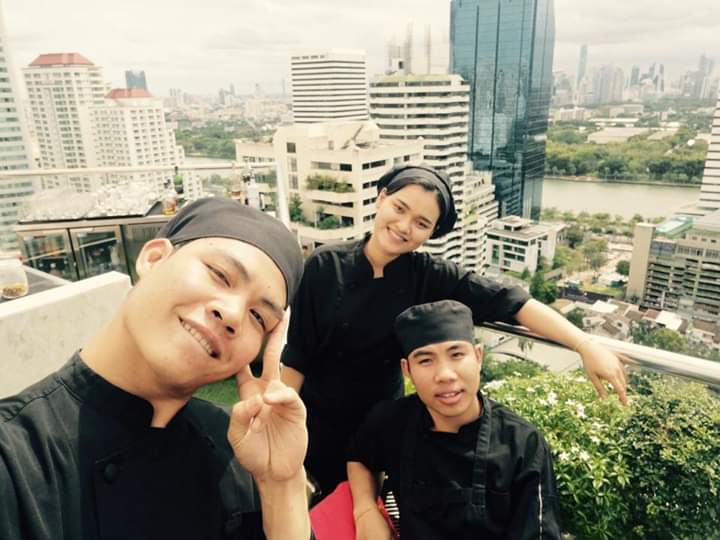 Collecting experiences with friends: Bounmy and Thongvanh during their time at the Rembrandt Hotel in Bangkok, Thailand