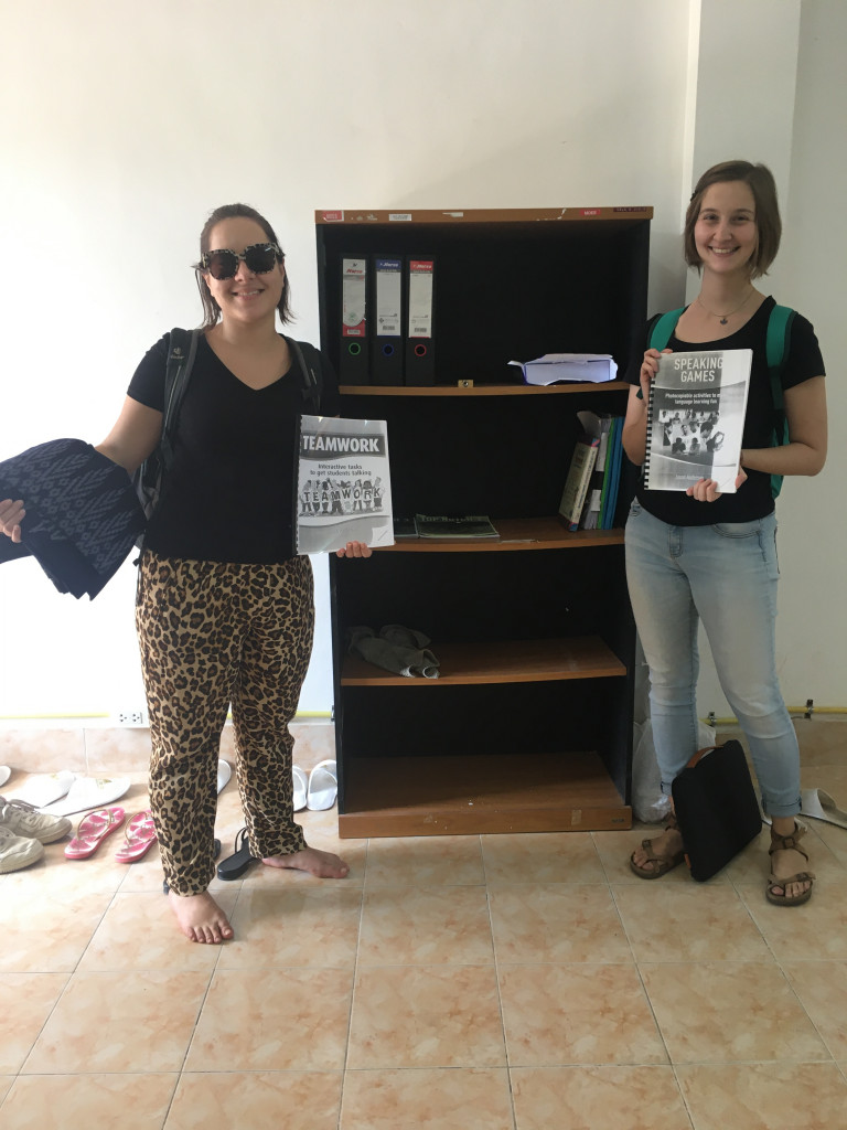 "Celine and Lena in front of our emerging ""English Library"""