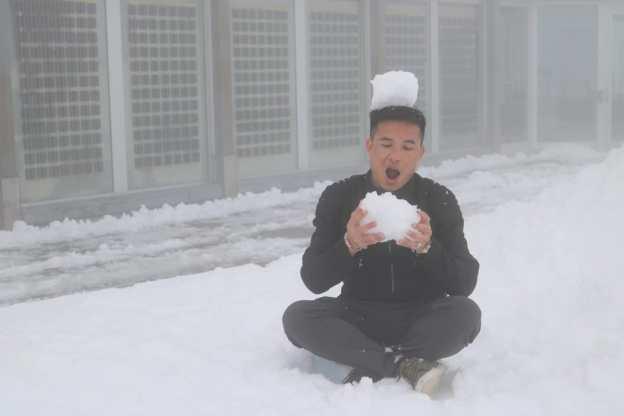The snowman eats the snow.