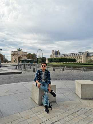 Nice view of Tuileries park nearby Louvre museum
