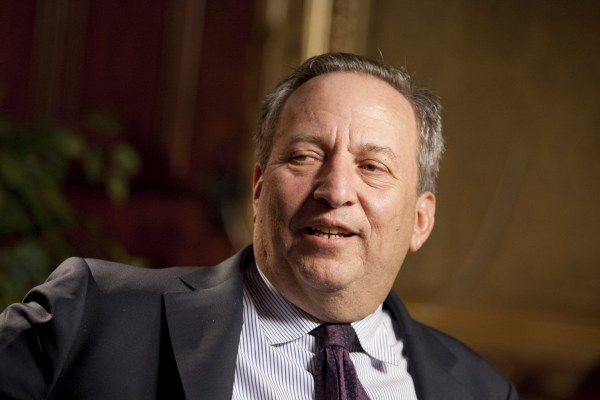 """Lawrence """"Larry"""" Summers, director of the U.S. National Economic Council, speaks during a television interview in Washington, D.C., U.S., on Thursday, Feb. 4, 2010. Summers said last week the dollar will play a central role in the international financial system for a long time to come. Photographer: Andrew Harrer/Bloomberg via Getty Images"""