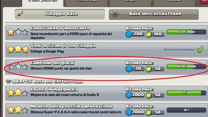 Come guadagnare GEMME dal nuovo obiettivo di Clash of Clans