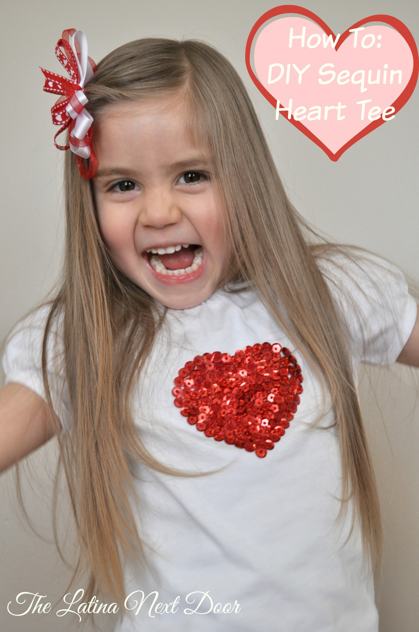 DIY Sequin Heart Tee 2 Valentines Day DIY Sequin Heart T shirt Tutorial for Valentines Day