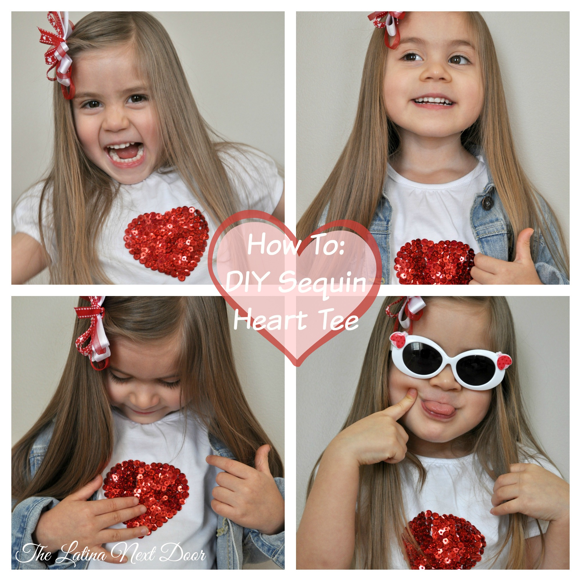 Finished DIY Sequined Heart Tee Collage DIY Sequin Heart T shirt Tutorial for Valentines Day