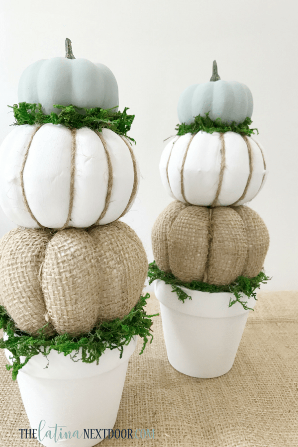 DIY Farmhouse Pumpkin Topiaries 11 7 High End Dollar Tree Fall DIYs