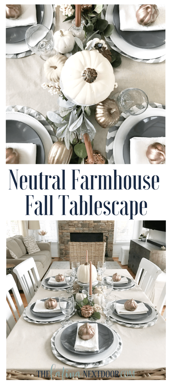 Neutral Farmhouse Fall Tablescape Long Pin Neutral Farmhouse Fall Tablescape
