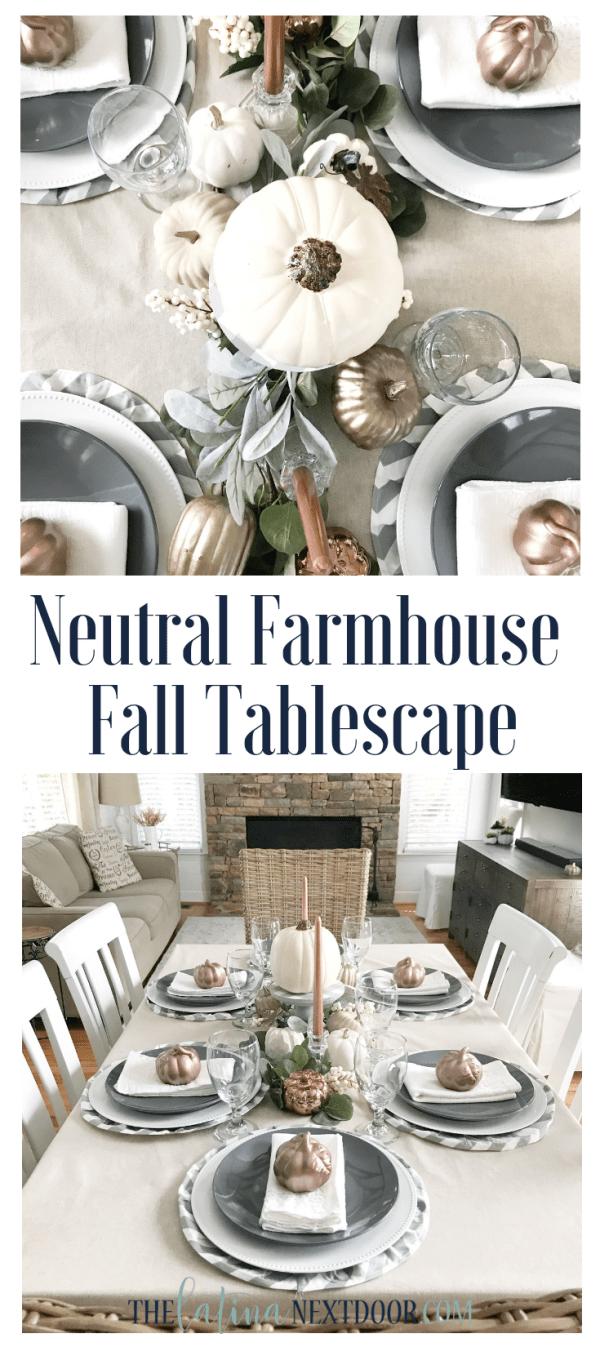 Neutral Farmhouse Fall Tablescape Long Pin Neutral Farmhouse Fall Tablescape