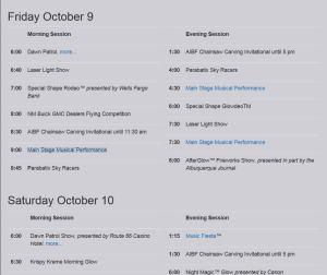 balloon fest schedule