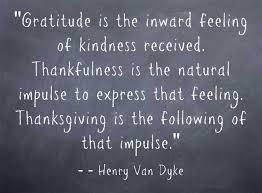 Gratitude and thankfullness