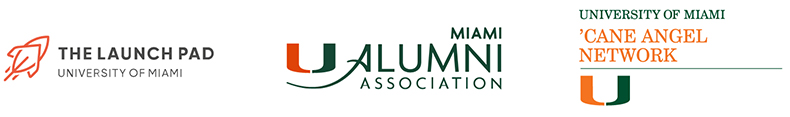 cane angel network, um alumni association, launchpad logos