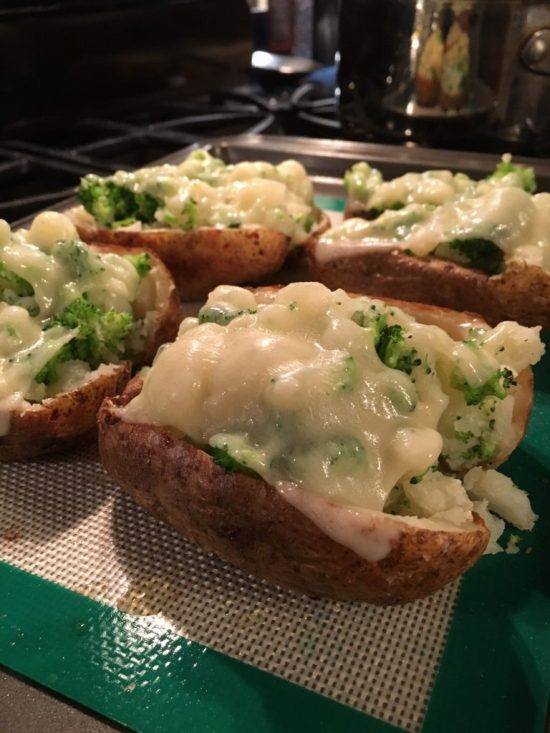 Easy Double Stuffed Potatoes with Broccoli and Swiss Cheese