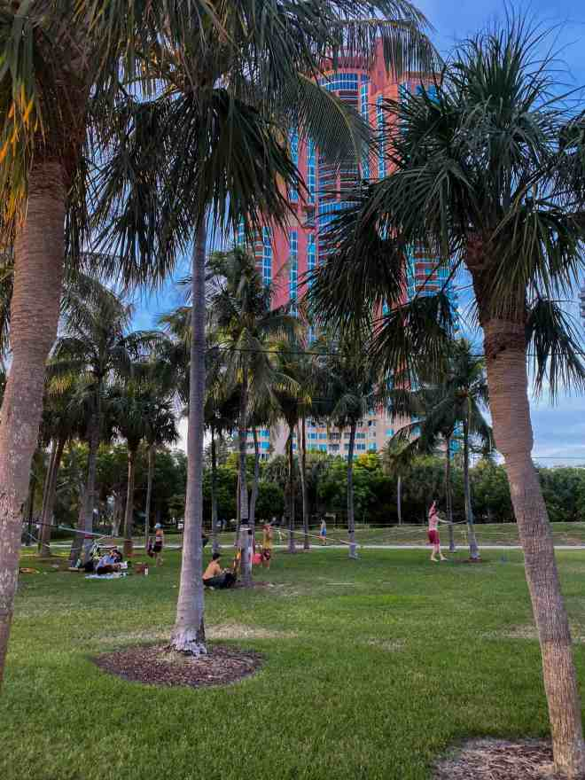 Slack Line performers in Miami Beach