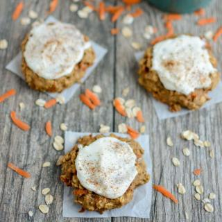 Frosted Carrot Cookies with shredded carrots and cinnamon