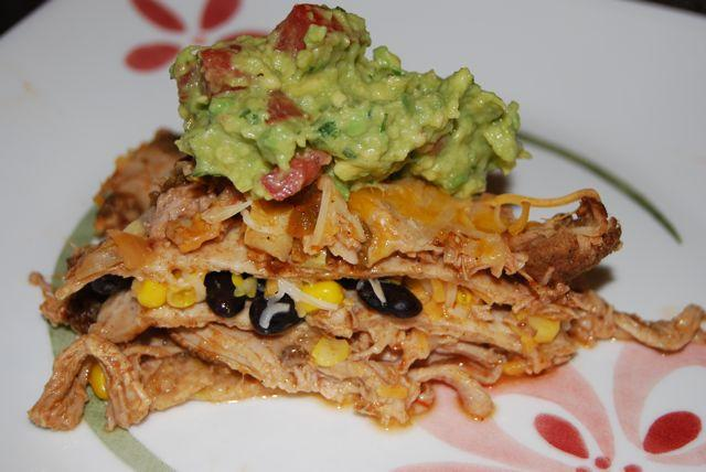 Use the crockpot to cook the pork and this Carnitas Taco Pie comes together in no time!