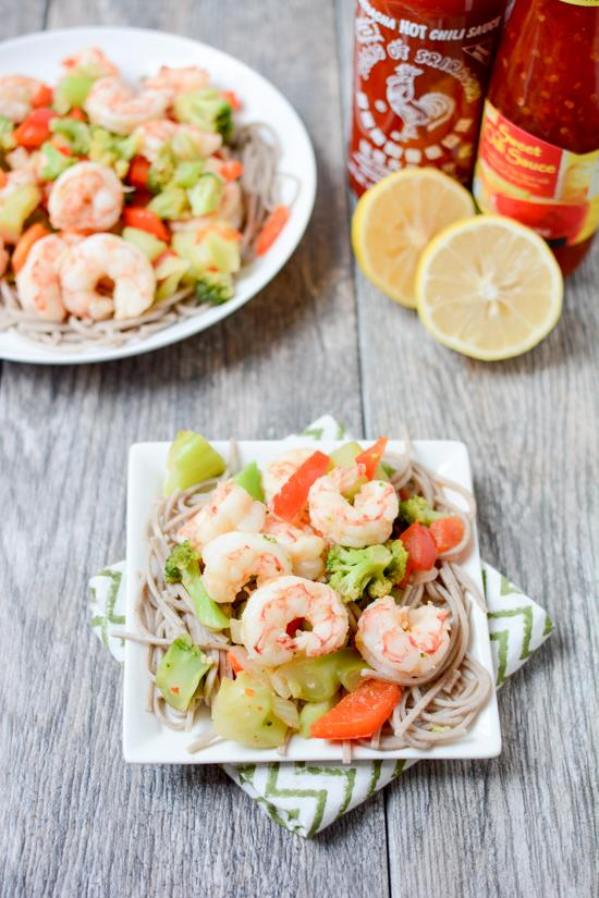 Ready in 15 minutes, this Sweet & Spicy Shrimp with Soba Noodles is a quick and easy weeknight dinner recipe that the whole family will love!