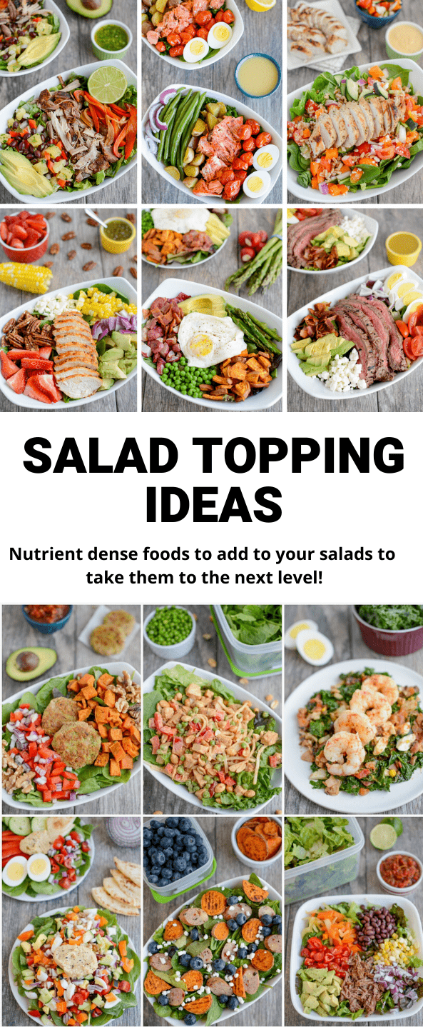 Looking for some new salad topping ideas? Here are lots of simple, easy ingredients you can use to boost the nutrition of your salad. Use them to add nutrients and flavor and to make your meals more exciting!