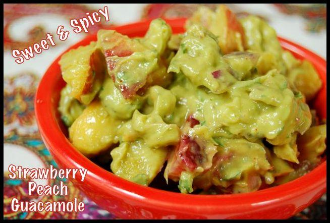 Sweet & Spicy Strawberry Peach Guacamole - Add some sweet mix-ins and spices to your next batch of guacamole for a fun appetizer or snack!
