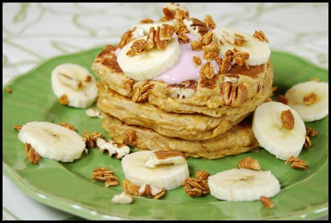 These Whole Wheat pancakes have some delicious mix-ins like bananas for sweetness and granola for crunch! Make a batch this weekend!