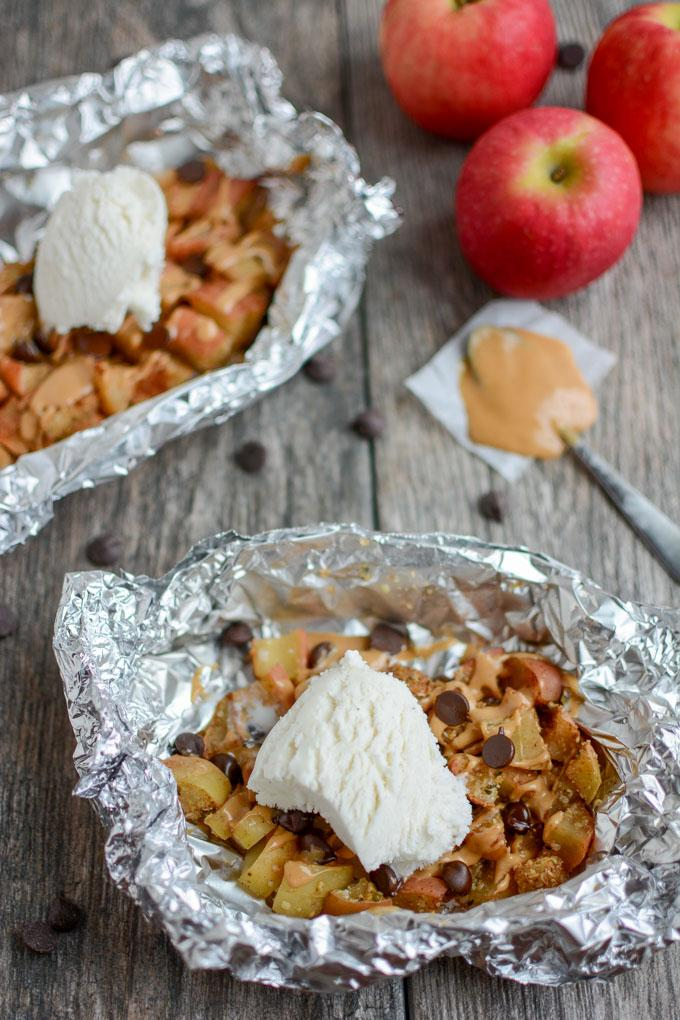 Baked Apple Packets with ice cream