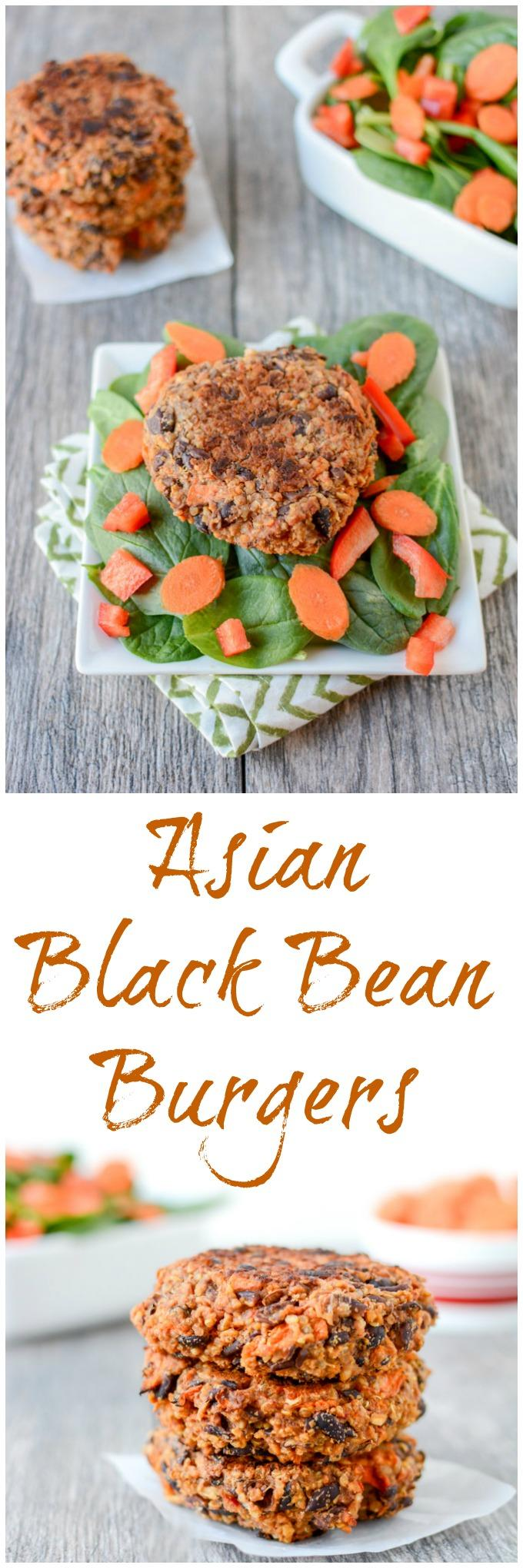 This recipe for Asian Black Bean Burgers is full of flavor and perfect for food prep. The burgers are packed with protein and fiber and taste great with a salad for a healthy, vegan lunch!