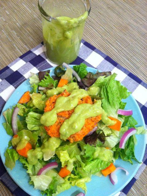 This Lemon Avocado Salad Dressing is light and flavorful and an easy way to add some healthy fats to your salad.