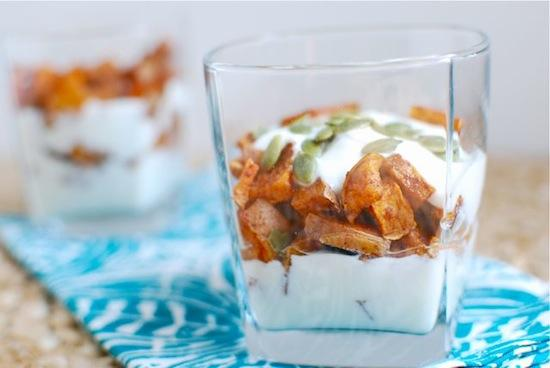 These Cinnamon Roasted Sweet Potato Parfaits are the perfect gluten-free snack or dessert! Customize them with your favorite toppings!