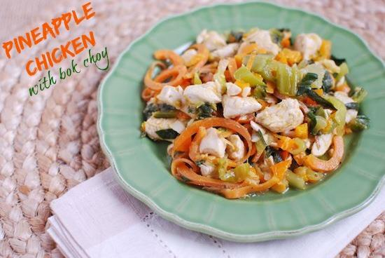 This Pineapple Chicken with Bok Choy is a healthy one pot meal full of vegetables and asian flavors