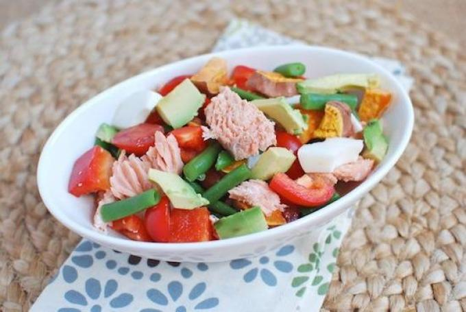 This Salmon Chop Salad is sure to be a hit with those who aren't crazy about lettuce but still want to get their vegetables in!