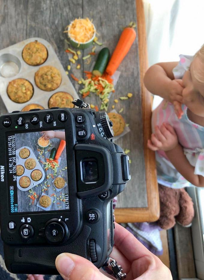 Veggie Corn Muffins toddler eating cheese