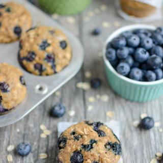 Blueberry Muffins with a bowl of blueberries and oats