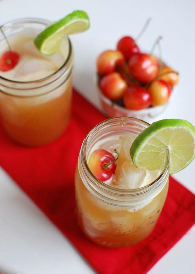 Make yourself a homemade Healthy Cherry Limeade on a hot summer day. This drink is refreshing and lower in sugar than the famous Sonic version.