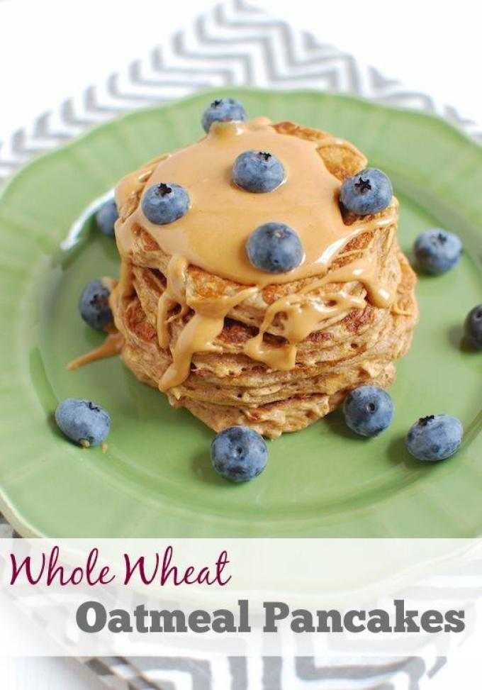Made with healthy ingredients like oats, whole wheat flour and yogurt, these pancakes make a great breakfast. Make an extra batch to freezer for busy mornings!