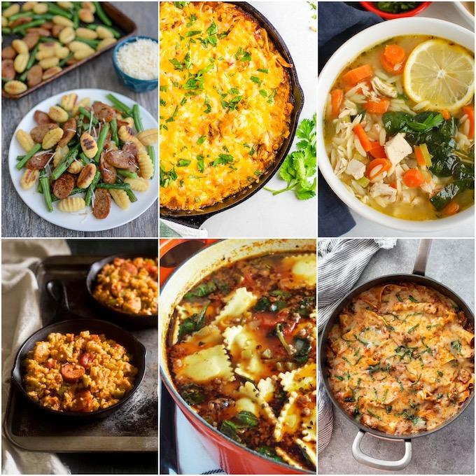 collage of easy one pot comfort meals