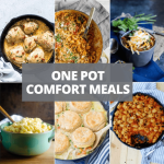 One Pot Comfort Meals collage of 6 recipe photos