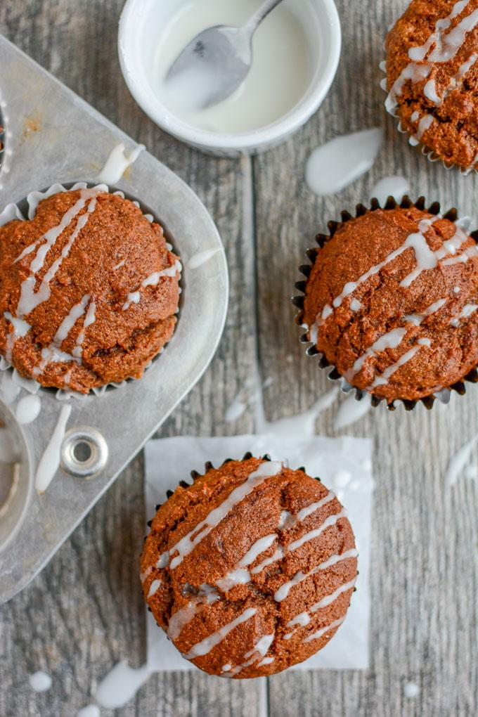 Pumpkin Gingerbread Muffins with Icing Drizzle