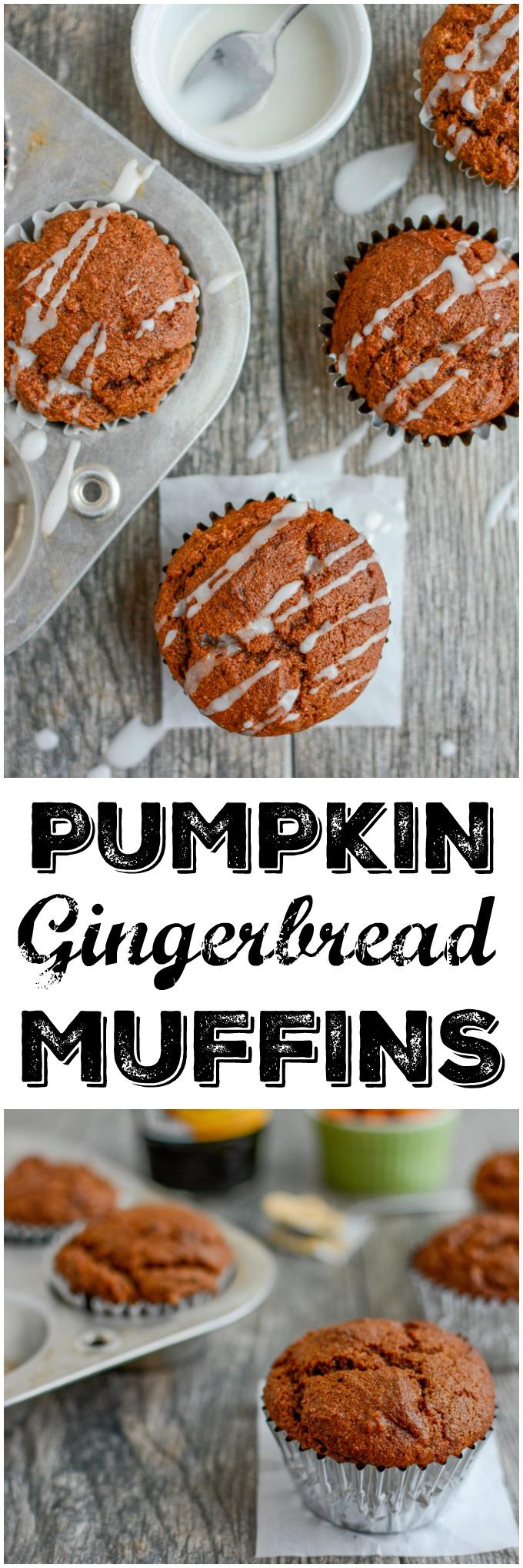 These Pumpkin Gingerbread Muffins are bursting with flavor, deliciously moist and they make a great mid-morning snack! They're the perfect way to transition from fall to winter.