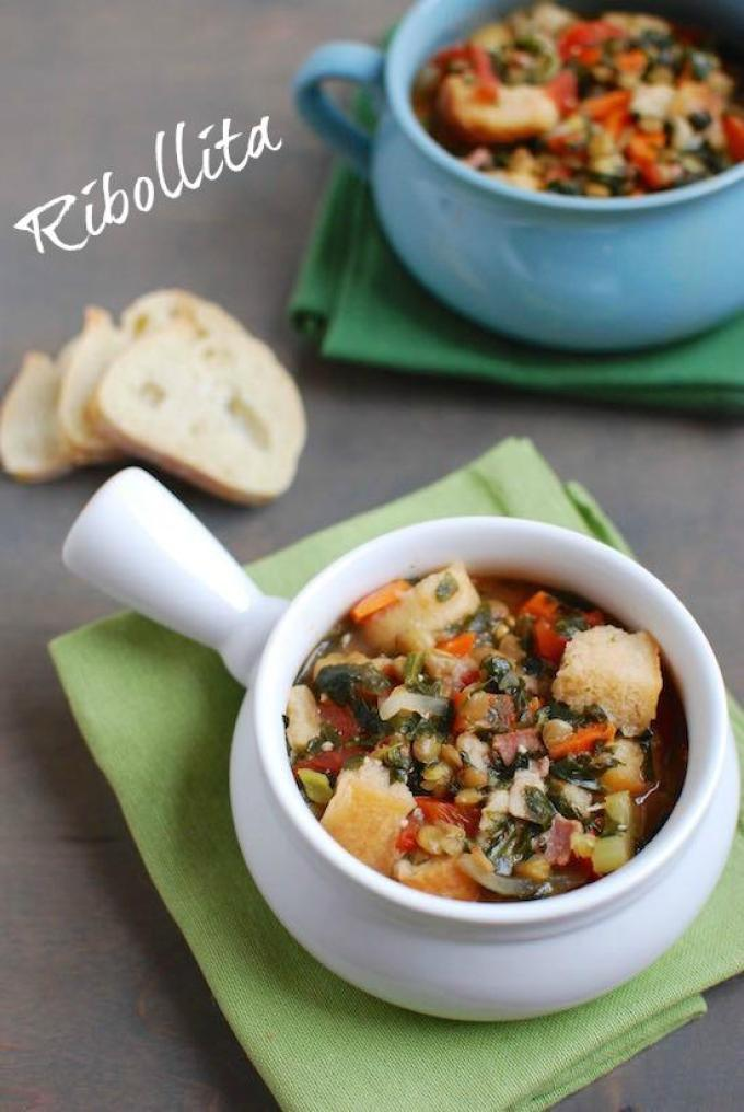 Ribollita is a bread soup packed with lentils and vegetables. It's healthy, comforting and a great way to use up stale bread.