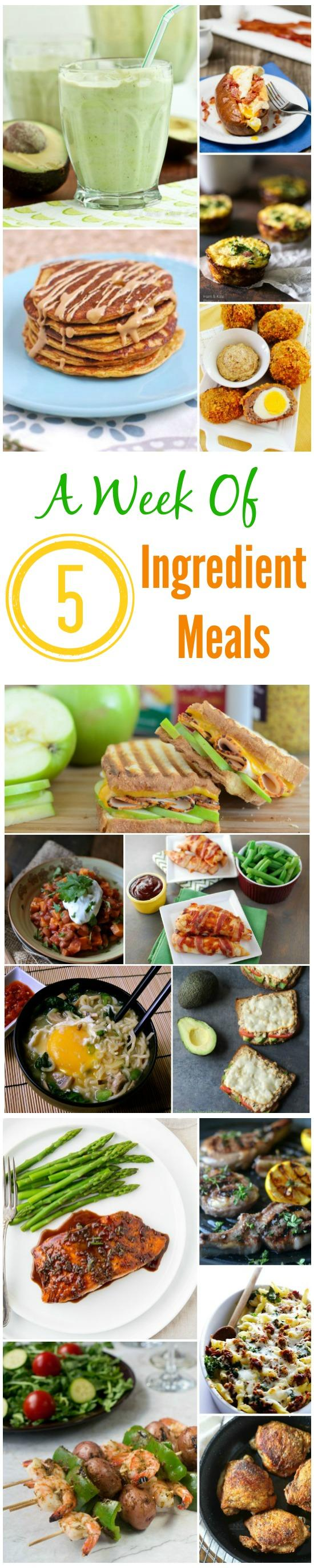 Need some quick, easy meal ideas? These recipes can all be made with 5 ingredients or less!