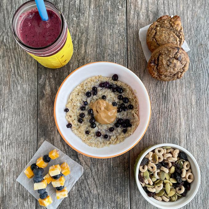 toddler snack ideas -smoothie, oatmeal, muffins, trail mix, kabobs